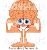 Vector Illustration of a Cartoon Human Brain Flexing His Muscles by Toons4Biz