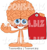 Vector Illustration of a Cartoon Human Brain Holding a Blank Red Tag by Toons4Biz