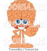 Vector Illustration of a Cartoon Human Brain Mascot Gesturing Right by Toons4Biz