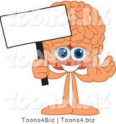Vector Illustration of a Cartoon Human Brain Mascot Holding a Blank Sign by Toons4Biz
