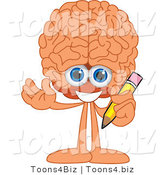 Vector Illustration of a Cartoon Human Brain Mascot Holding a Pencil by Toons4Biz