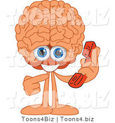 Vector Illustration of a Cartoon Human Brain Mascot Holding a Phone by Toons4Biz