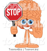 Vector Illustration of a Cartoon Human Brain Mascot Holding a Stop Sign by Toons4Biz