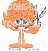 Vector Illustration of a Cartoon Human Brain Mascot Holding Scissors by Toons4Biz