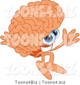 Vector Illustration of a Cartoon Human Brain Mascot Jumping by Toons4Biz