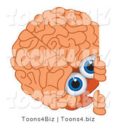 Vector Illustration of a Cartoon Human Brain Mascot Looking Around a Blank Sign by Toons4Biz