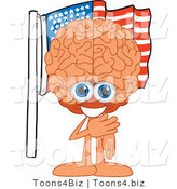 Vector Illustration of a Cartoon Human Brain Mascot Pledging Allegiance to an American Flag by Toons4Biz