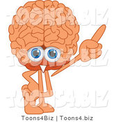 Vector Illustration of a Cartoon Human Brain Mascot Pointing up by Toons4Biz
