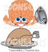 Vector Illustration of a Cartoon Human Brain Mascot Serving a Thanksgiving Turkey by Toons4Biz