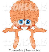Vector Illustration of a Cartoon Human Brain Mascot Sitting on a Ledge by Toons4Biz