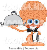Vector Illustration of a Cartoon Human Brain Mascot Waiter Serving by Toons4Biz