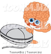 Vector Illustration of a Cartoon Human Brain Mascot Waving by a Computer Mouse by Toons4Biz