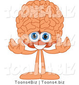 Vector Illustration of a Cartoon Human Brain Mascot Welcoming by Toons4Biz