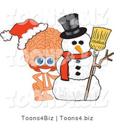 Vector Illustration of a Cartoon Human Brain Mascot with a Christmas Snowman by Toons4Biz