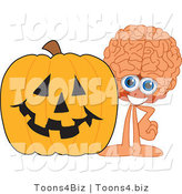 Vector Illustration of a Cartoon Human Brain Mascot with a Halloween Pumpkin by Toons4Biz
