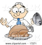 Vector Illustration of a Cartoon Hungry White Businessman Nerd Mascot Eyeing a Cooked Thanksgiving Turkey on a Platter by Toons4Biz