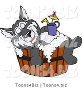 Vector Illustration of a Cartoon Husky Mascot Bathing in a Barrel with a Drink on His Belly by Toons4Biz