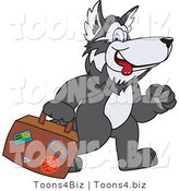 Vector Illustration of a Cartoon Husky Mascot Carrying Luggage by Toons4Biz
