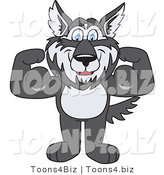 Vector Illustration of a Cartoon Husky Mascot Flexing by Toons4Biz