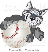 Vector Illustration of a Cartoon Husky Mascot Grabbing a Baseball by Toons4Biz