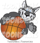 Vector Illustration of a Cartoon Husky Mascot Grabbing a Basketball by Toons4Biz