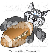 Vector Illustration of a Cartoon Husky Mascot Grabbing a Football by Toons4Biz