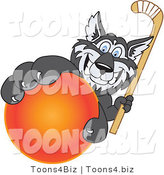 Vector Illustration of a Cartoon Husky Mascot Grabbing a Hockey Ball by Toons4Biz