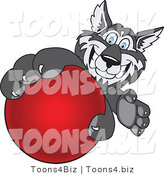 Vector Illustration of a Cartoon Husky Mascot Grabbing a Red Ball by Toons4Biz
