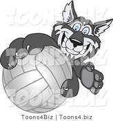 Vector Illustration of a Cartoon Husky Mascot Grabbing a Volleyball by Toons4Biz
