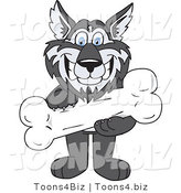 Vector Illustration of a Cartoon Husky Mascot Holding a Bone by Toons4Biz