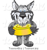 Vector Illustration of a Cartoon Husky Mascot Holding a Food Bowl by Toons4Biz