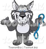 Vector Illustration of a Cartoon Husky Mascot Holding a Leash by Toons4Biz