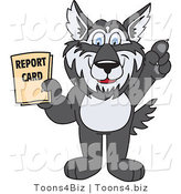 Vector Illustration of a Cartoon Husky Mascot Holding a Report Card by Toons4Biz