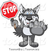Vector Illustration of a Cartoon Husky Mascot Holding a Stop Sign by Toons4Biz