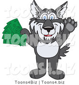 Vector Illustration of a Cartoon Husky Mascot Holding Cash by Toons4Biz