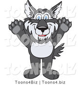 Vector Illustration of a Cartoon Husky Mascot Holding His Paws up by Toons4Biz