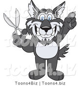 Vector Illustration of a Cartoon Husky Mascot Holding up Scissors by Toons4Biz