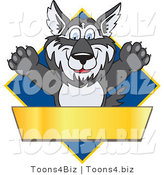 Vector Illustration of a Cartoon Husky Mascot Logo over a Blue Diamond with a Blank Gold Banner by Toons4Biz