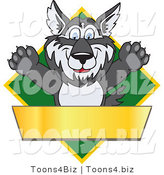 Vector Illustration of a Cartoon Husky Mascot Logo over a Green Diamond with a Blank Gold Banner by Toons4Biz
