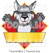 Vector Illustration of a Cartoon Husky Mascot Logo over a Red Diamond with a Blank Gold Banner by Toons4Biz