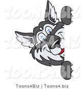 Vector Illustration of a Cartoon Husky Mascot Looking Around a Blank Sign by Toons4Biz