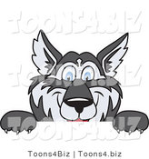 Vector Illustration of a Cartoon Husky Mascot Looking over a Blank Sign by Toons4Biz