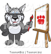 Vector Illustration of a Cartoon Husky Mascot Painting a Paw Print by Toons4Biz