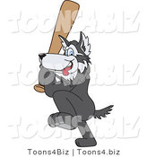 Vector Illustration of a Cartoon Husky Mascot Playing Baseball by Toons4Biz