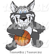 Vector Illustration of a Cartoon Husky Mascot Playing Basketball by Toons4Biz