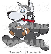 Vector Illustration of a Cartoon Husky Mascot Playing Football by Toons4Biz
