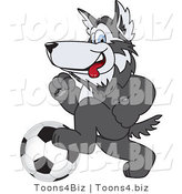 Vector Illustration of a Cartoon Husky Mascot Playing Soccer by Toons4Biz
