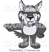 Vector Illustration of a Cartoon Husky Mascot Pointing Left by Toons4Biz