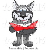 Vector Illustration of a Cartoon Husky Mascot Reading a Book by Toons4Biz