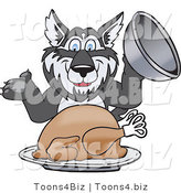Vector Illustration of a Cartoon Husky Mascot Serving a Thanksgiving Turkey by Toons4Biz